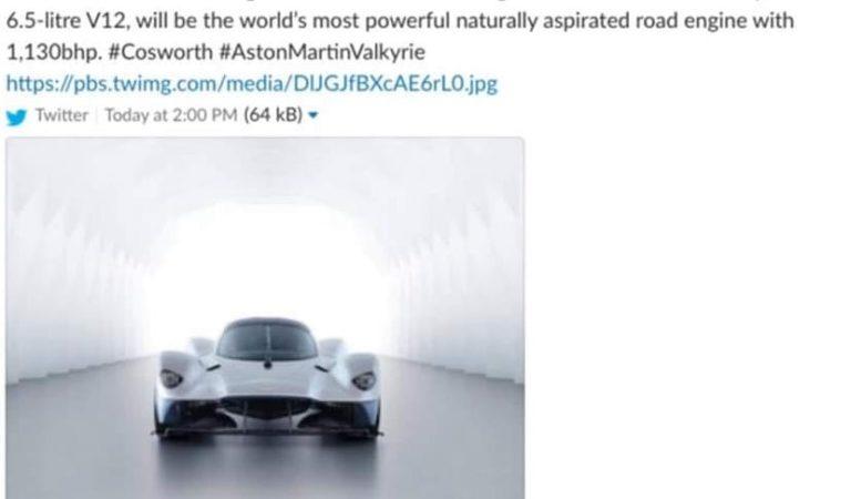 Il motore aspirato più potente di sempre verrà montato sulla Aston Martin Valkyrie