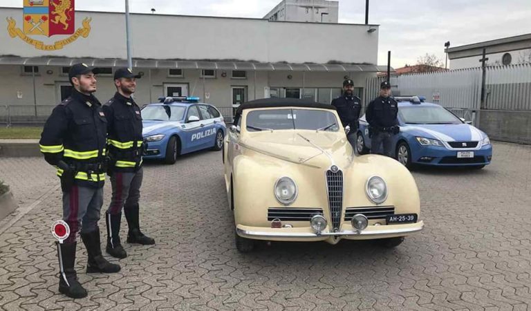 È stata recuperata dalla Polizia l'Alfa Romeo 6C 2500 rubata alla 1000 Miglia 2018