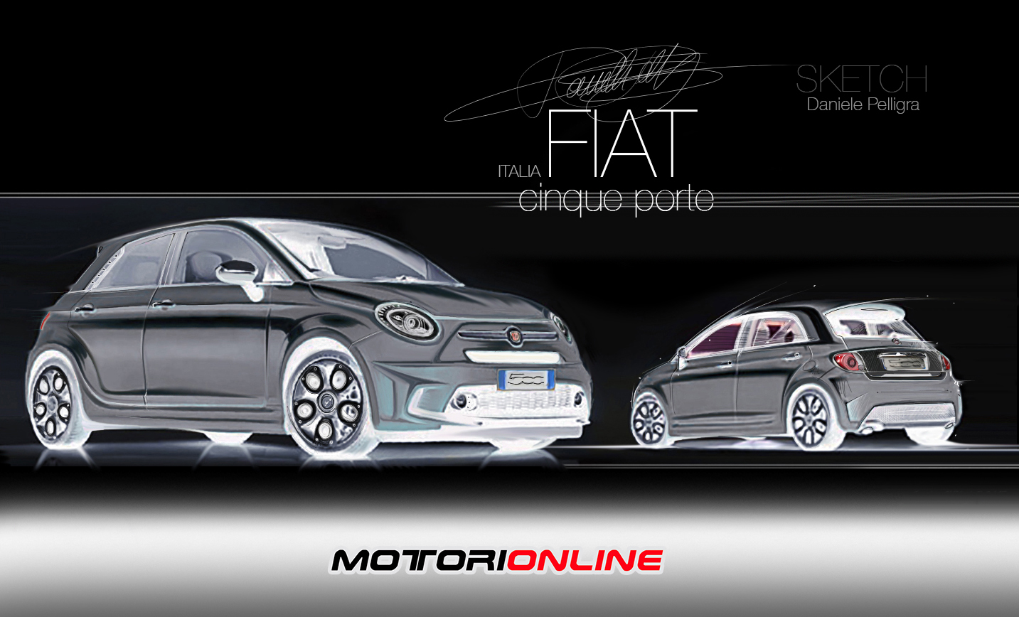 fiat 500 5 porte rendering by daniele pelligra foto 4 di 5. Black Bedroom Furniture Sets. Home Design Ideas