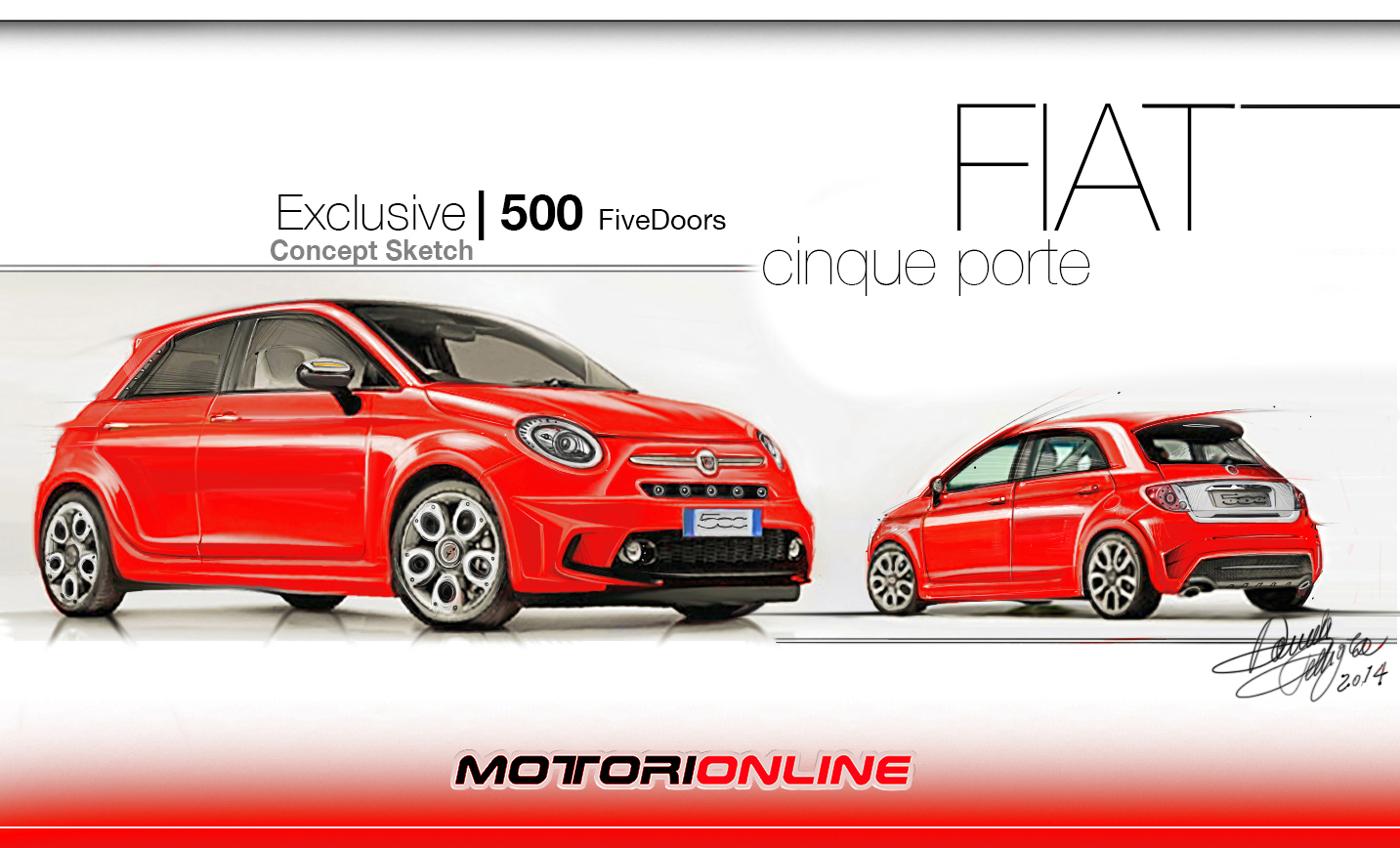 fiat 500 5 porte rendering by daniele pelligra 2 5. Black Bedroom Furniture Sets. Home Design Ideas