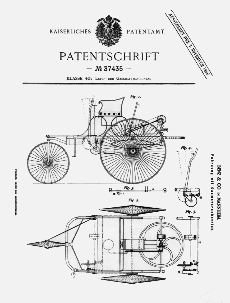 Patent Motorwagen di Karl Benz - Mercedes Benz festeggia l'anniversario