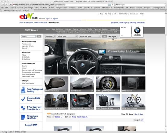 BMW venderà su eBay pezzi di ricambio e accessori ufficiali