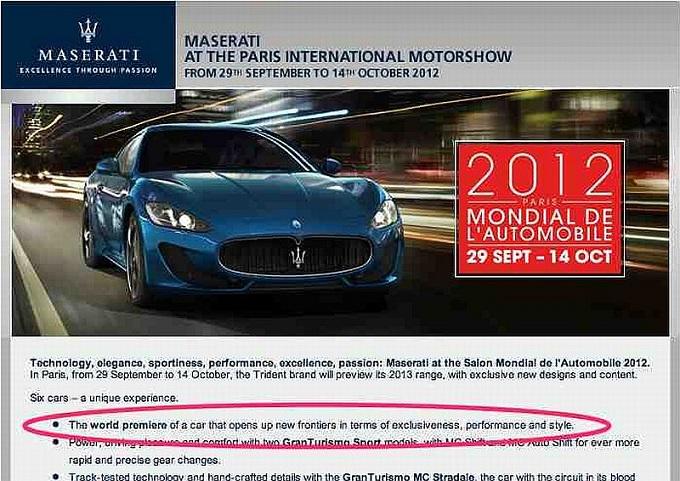 Maserati, una nuova sportiva al Salone di Parigi 2012?