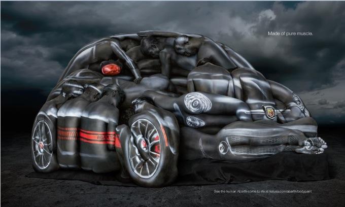 Abarth 500C Cabrio, body-painting femminile per la nuova pubblicità USA