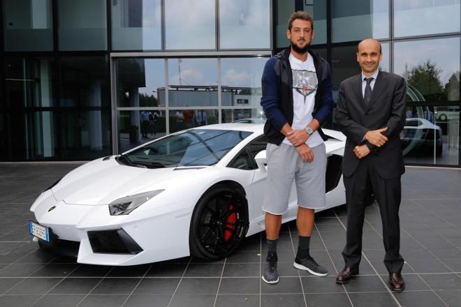 Visita e test ride alla Lamborghini Autoobili, Marco Belinelli è un cestista italiano. gioca nel San Antonio Spurs e nella Nazionale italiana.nato a  San Giovanni in Persiceto è il primo italiano ad aver vinto l'NBA Three-point Shootout (la gara da 3 punti) all'NBA All-Star Weekend 2014. foto Guizzardi Umberto 22-07-2014