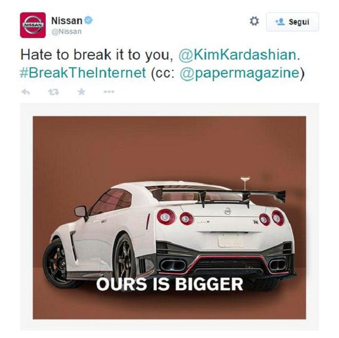 Nissan - tweet Kim Karadashian