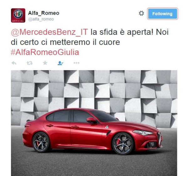 Alfa Romeo Giulia - tweet Alfa Romeo