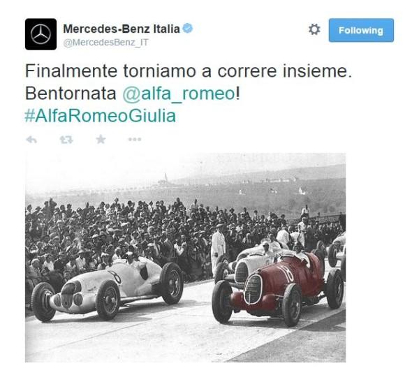 Alfa Romeo Giulia - tweet Mercedes Italia