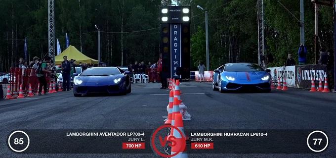 Lamborghini Huracán vs Lamborghini Aventador, questa volta la sfida è alla pari [VIDEO]