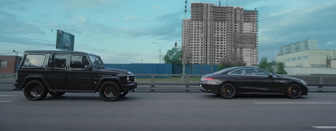 Mercedes-AMG S63 Coupé vs G63 AMG Brabus, oligarchi contro guardie del corpo tutto in un VIDEO