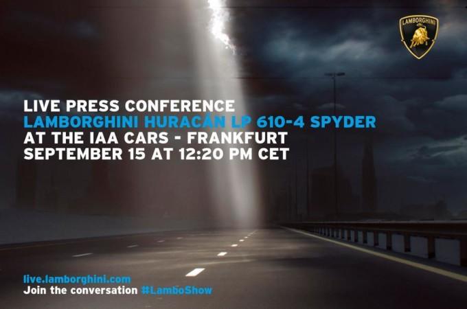 Lamborghini Huracan Spyder, ora è ufficiale: la vedremo al Salone di Francoforte 2015