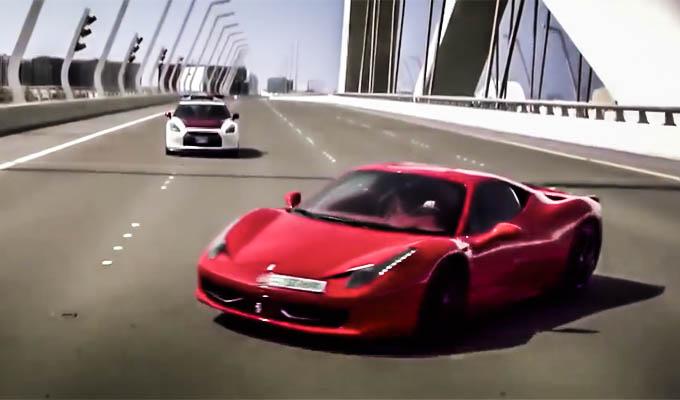 Ferrari 458 Italia vs Nissan GT-R: inseguimento mozzafiato sulle strade di Abu Dhabi [VIDEO]