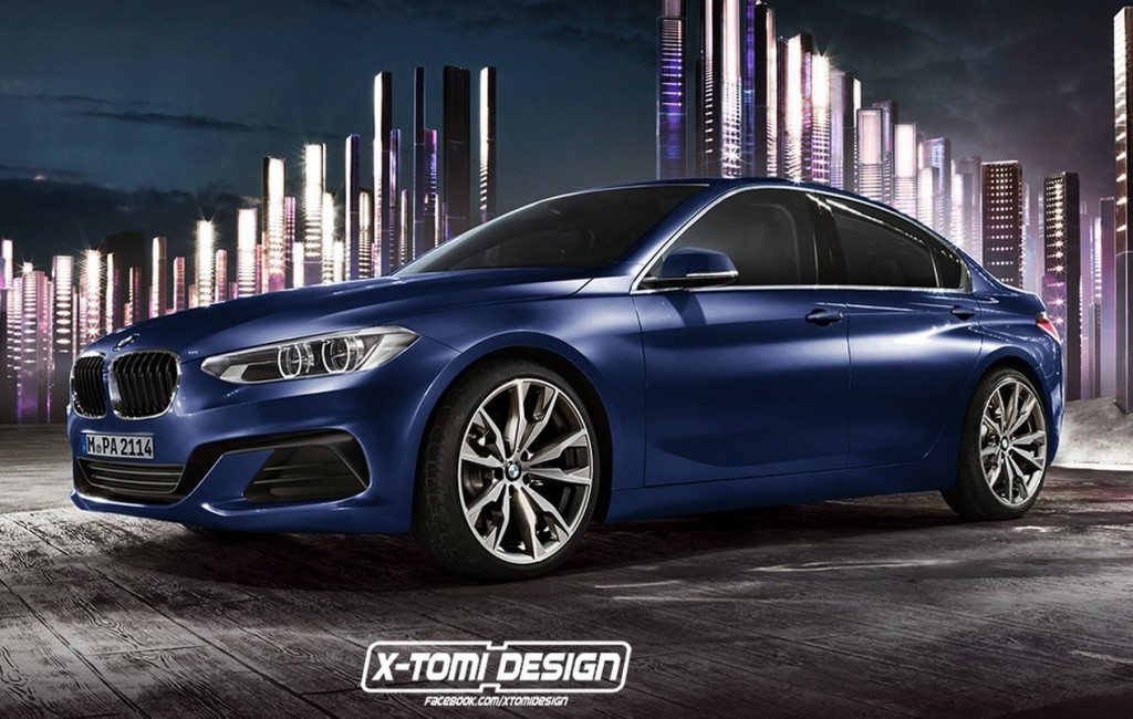 bmw serie 1 my 2017 prove di stile nel rendering su base della compact sedan concept. Black Bedroom Furniture Sets. Home Design Ideas