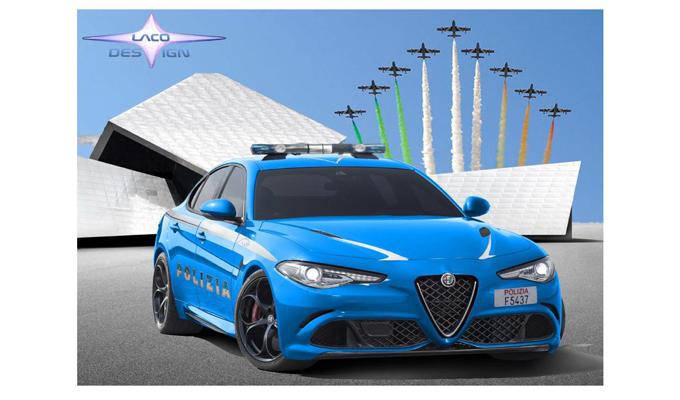 Alfa Romeo Giulia Quadrifoglio: come potrebbe essere una versione della Polizia [RENDERING]