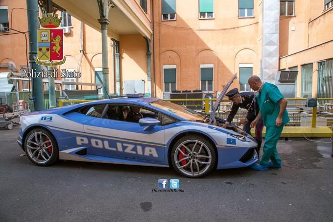 Lamborghini Huracan della Polizia trasporta un rene da Roma a L'Aquila in meno di un'ora