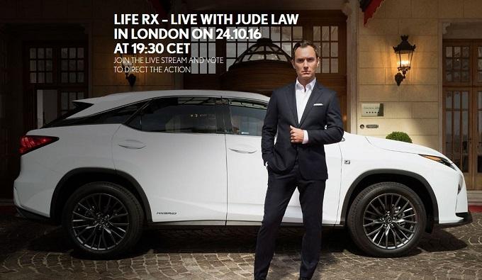 """Lexus RX e Jude Law protagonisti di un interattivo """"on the road"""" per le strade di Londra"""