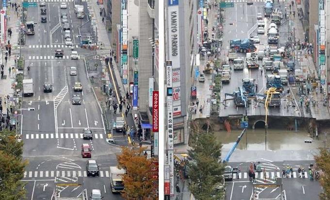 Spaventosa voragine per strada in Giappone: ecco come è successo