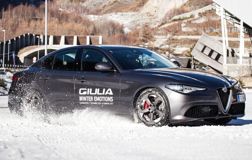 Alfa Romeo Giulia Veloce protagonista sulla neve con la Giulia Winter Emotion