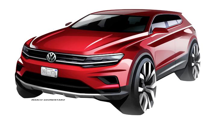 Volkswagen Tiguan Allspace: dimensioni amplificate per il nuovo SUV atteso a Detroit [SKETCH]