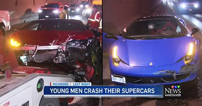 Ferrari 458 Italia e Lamborghini Huracan: incidente a Vancouver