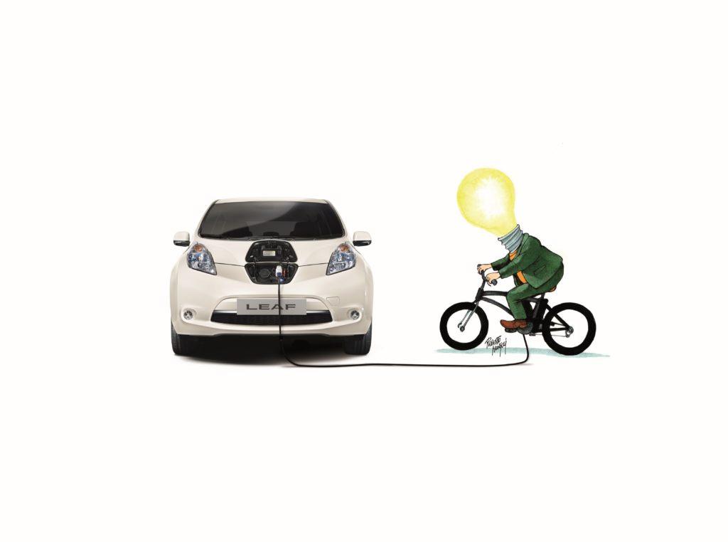Nissan LEAF e DinamoBike: due anni di ricarica gratuita per chi produce energia pedalando