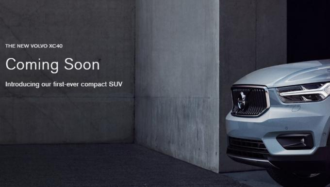 Volvo XC40: prima immagine ufficiale in attesa della presentazione [TEASER]
