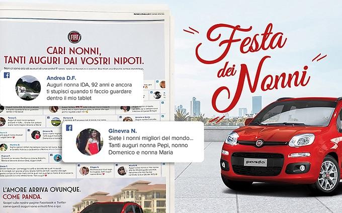 Fiat celebra la Festa dei Nonni portando sul giornale gli auguri social dei nipoti [VIDEO]