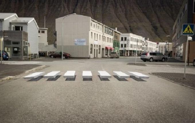 Strisce pedonali in 3D, l'efficace tecnica per far rallentare gli automobilisti