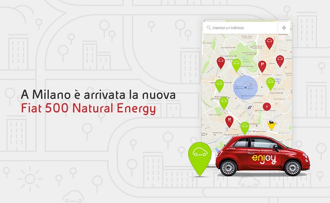 Car sharing Enjoy a Milano: arriva la sperimentale Fiat 500 Natural Energy