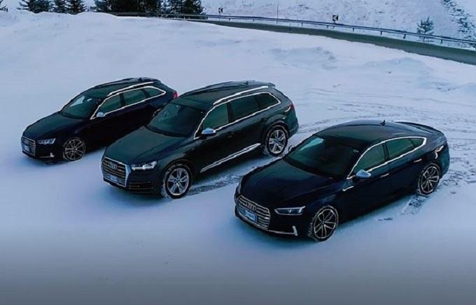 Audi S4 Avant, S5 Sportback e SQ7 danzano tra le strade innevate delle Alpi [VIDEO]