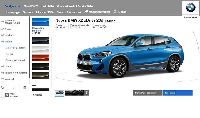 BMW X2, online il configuratore del nuovo SUV compatto