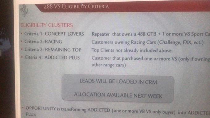 Ferrari 488 Speciale: i criteri per selezionare i clienti