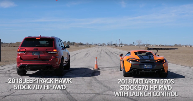 Grand Cherokee Trackhawk, sfida la McLaren 570s in una drag race [VIDEO]