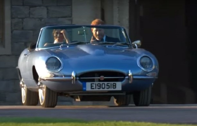 royal wedding: la jaguar e-type zero ha portato harry e meghan al