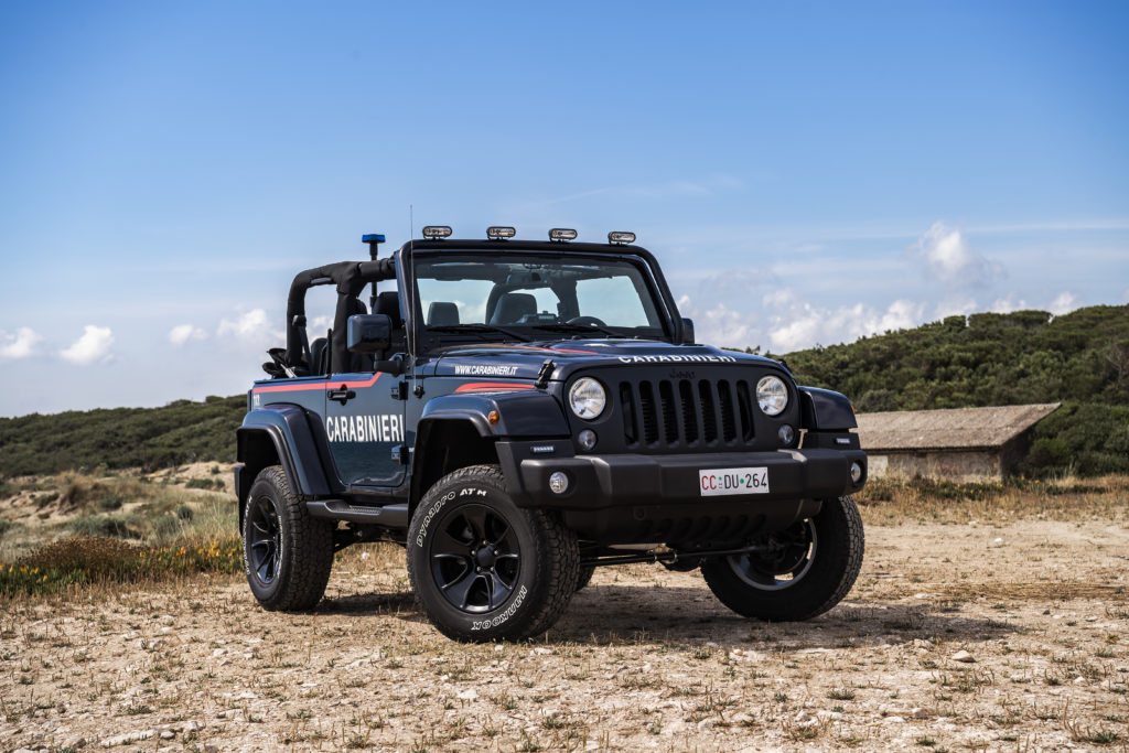 La Jeep Wrangler in dotazione ai carabinieri