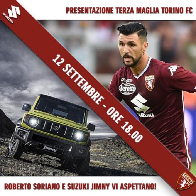 Suzuki Jimny protagonista della terza maglia del Torino
