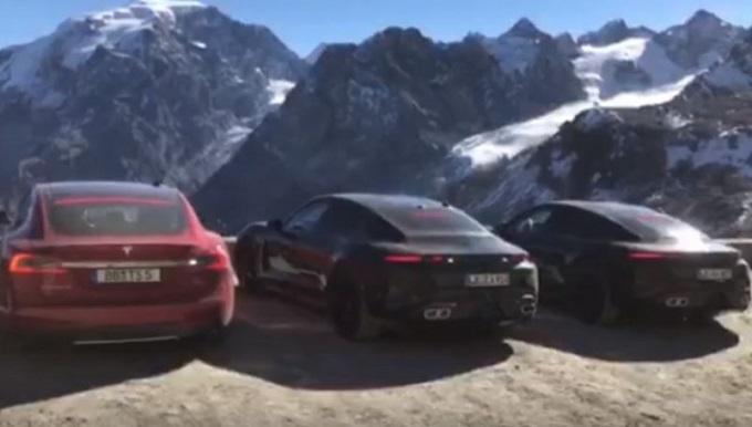 Porsche Taycan, due prototipi pizzicati con la Tesla Model S [VIDEO SPIA]