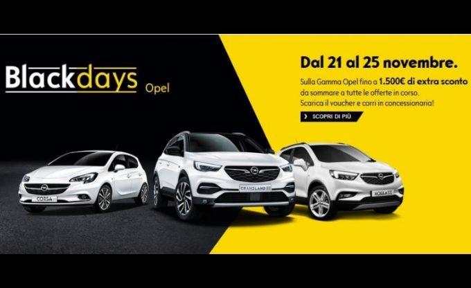 Opel lancia l'operazione Black Days: per pochi giorni sconto extra fino a 1.500 euro