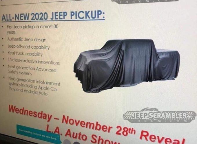 Jeep Scrambler: il nuovo pick up verrà svelato al Los Angeles Auto Show 2018