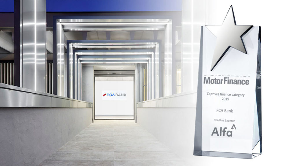 "FCA Bank premiata come ""Captive Finance Company of the Year"" ai Motor Finance Europe Awards 2019"