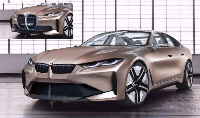 BMW Concept i4: ecco come sarebbe con la classica griglia anteriore dell'Elica [RENDERING]