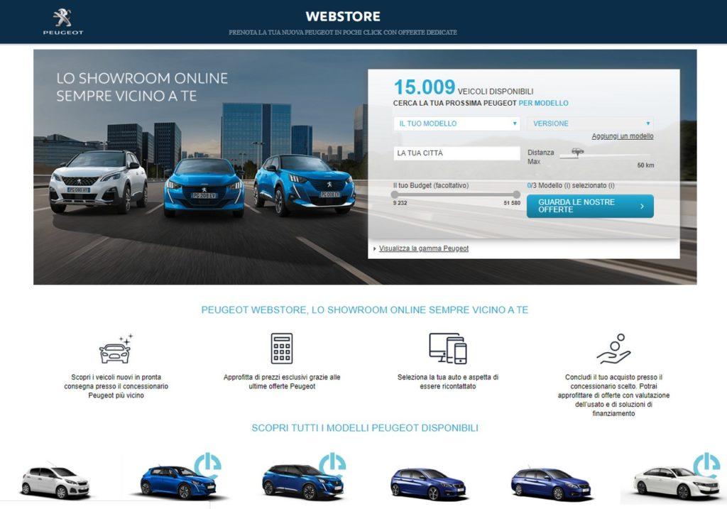 Peugeot: la concessionaria virtuale online con Webstore