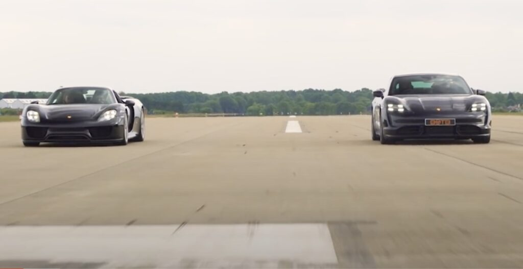 Porsche Taycan vs Porsche 918 Spyder: chi vincerà la gara di accelerazione? [VIDEO]