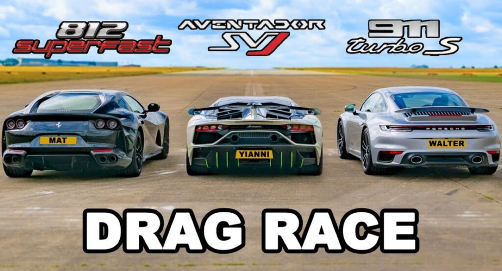 Ferrari 812, Aventador SVJ e 911 Turbo S: la DRAG RACE definitiva tra supercar, chi vincerà? [VIDEO]