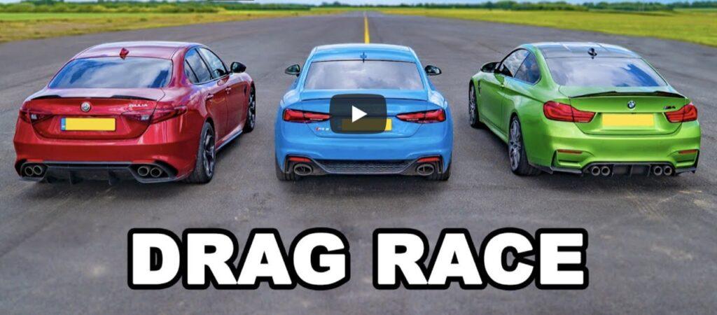 Alfa Romeo Giulia Quadrifoglio vs BMW M4 vs Audi RS5: chi è la più veloce sul quarto di miglio? [VIDEO]