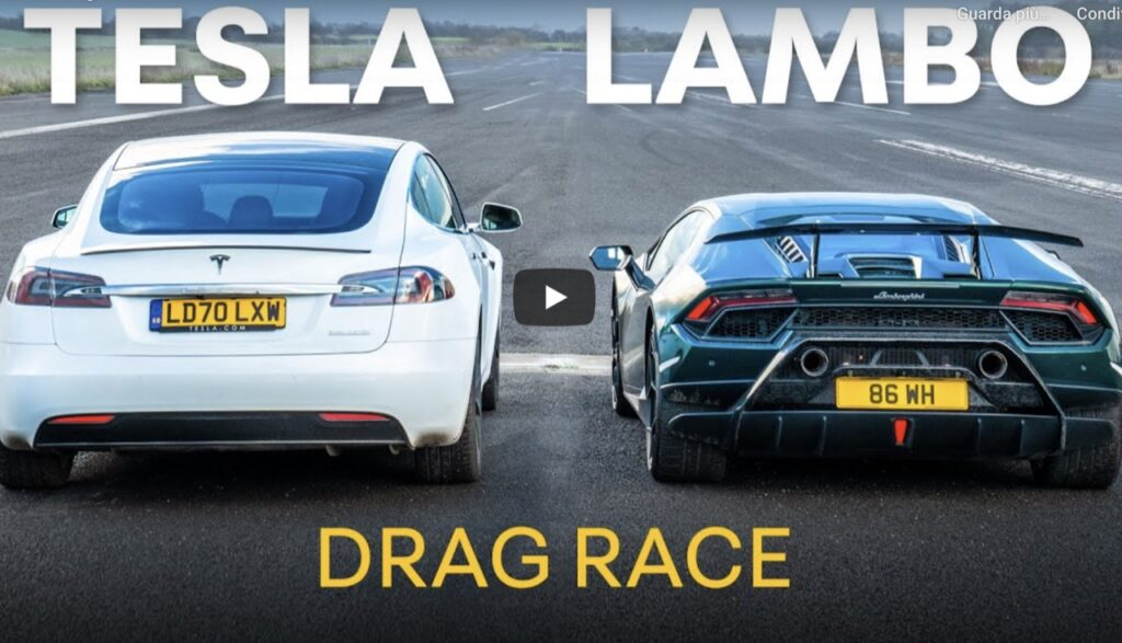 "Lamborghini Huracan Performante vs Tesla Model S: la DRAG RACE improbabile tra ""passato"" e futuro [VIDEO]"