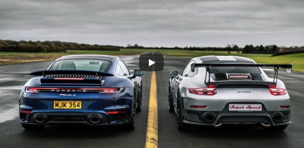 Drag Race Porsche: 911 GT2 RS vs 992 Turbo S, chi vincerà la gara d'accelerazione? [VIDEO]