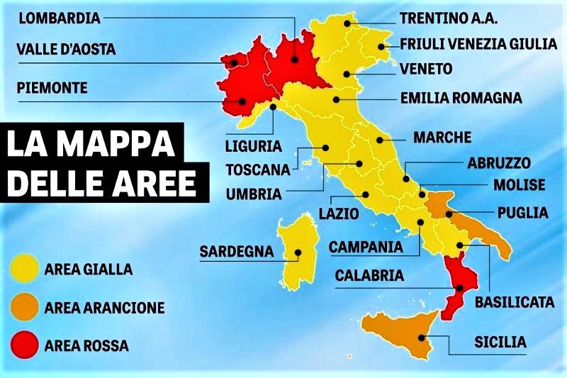 Zone arancioni e rosse: come cambiano colore le regioni, dalla Lombardia alla Sicilia