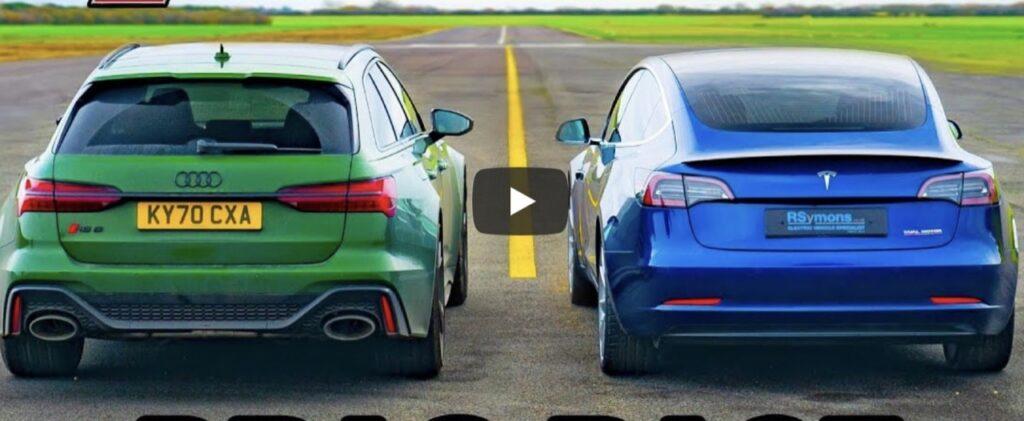 Audi RS6 2020 vs Tesla Model 3 Perfromance: V8 turbo o elettrico, chi vincerà la Drag Race? [VIDEO]