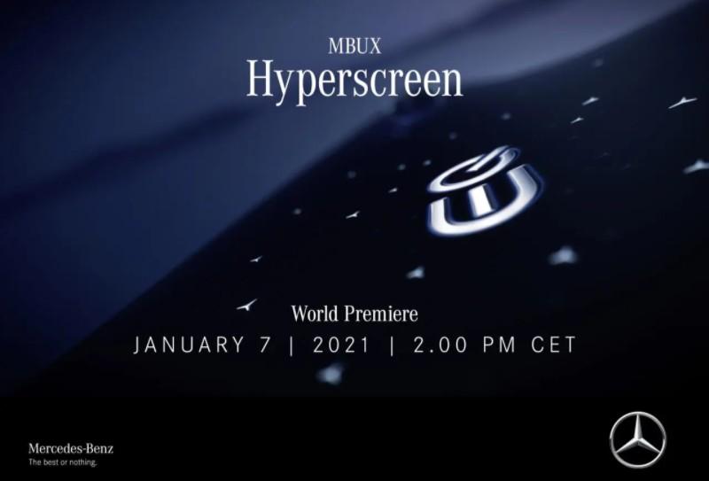 Mercedes MBUX Hyperscreen: sarà presentato il 7 gennaio
